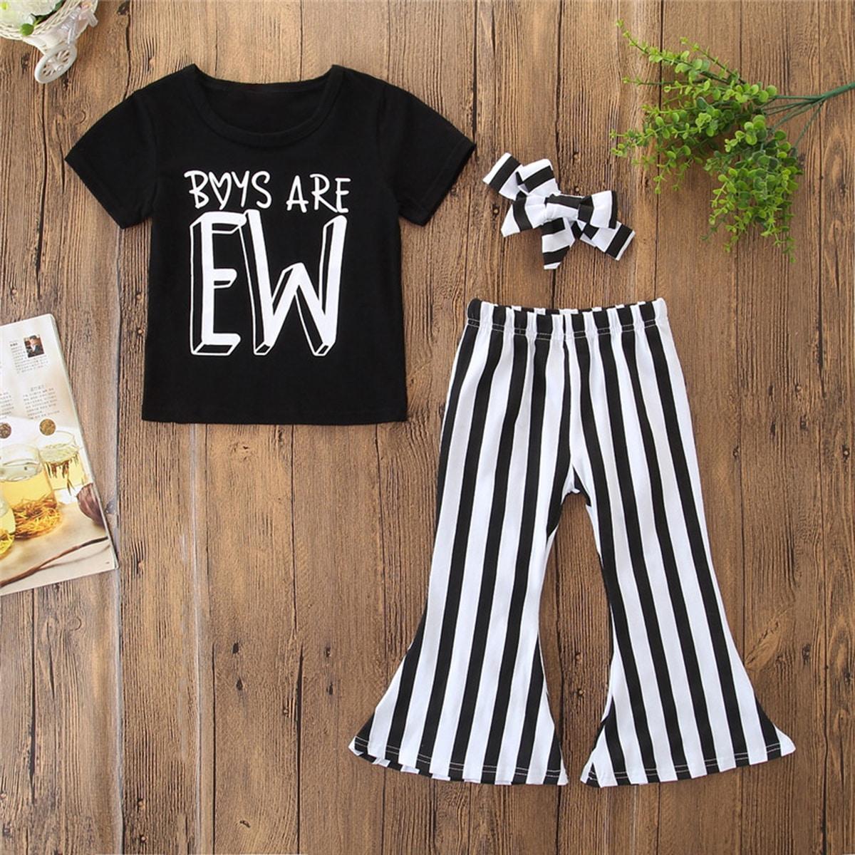 Расклешенные полосатые брюки и футболка с текстовым принтом и повязкой от SHEIN