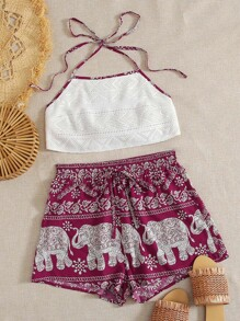 Tribal | Halter | Short | Lace | Set | Top