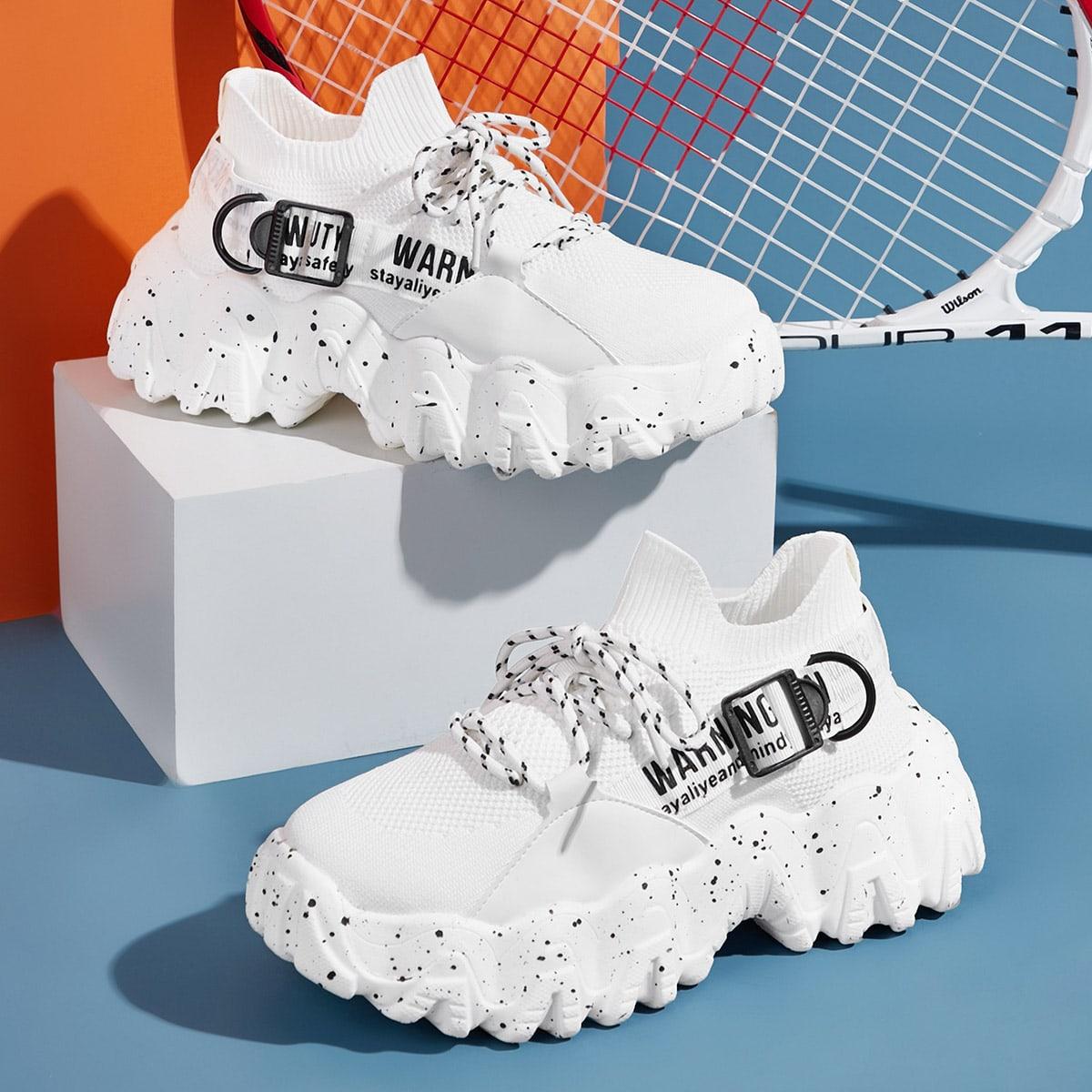 Кроссовки на платформе и шнурках с текстовым принтом от SHEIN
