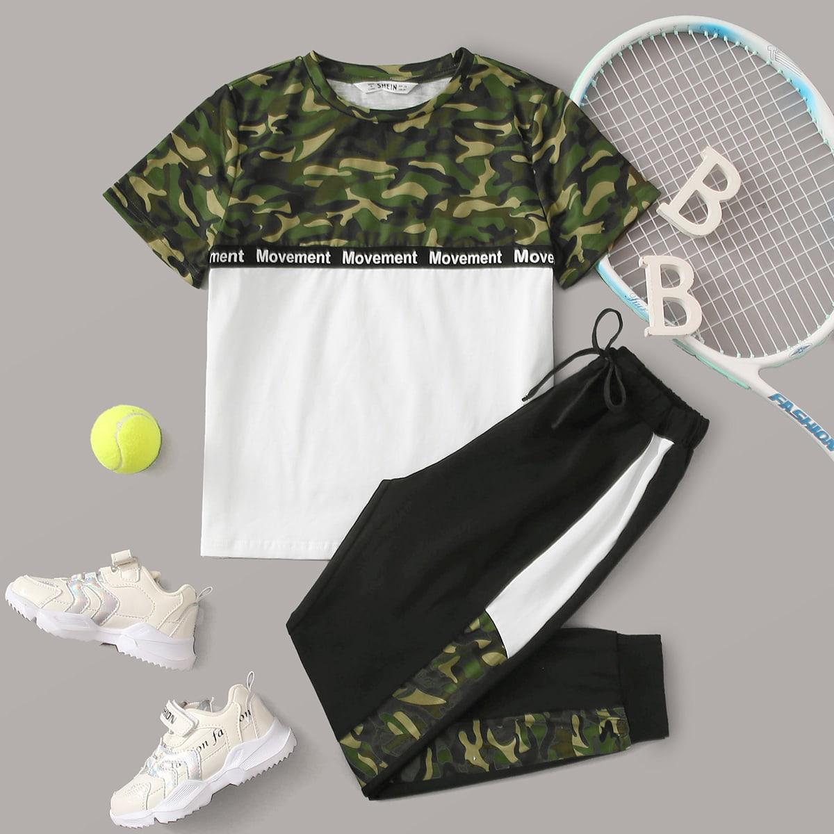 Контрастная камуфляжная футболка и спортивные брюки для мальчиков от SHEIN