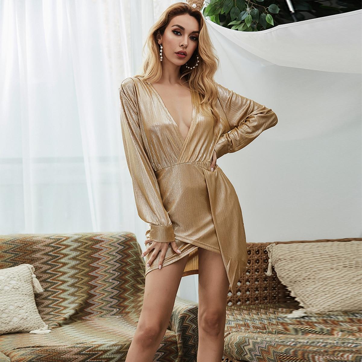 Missord платье с v-образным вырезом металлического цвета