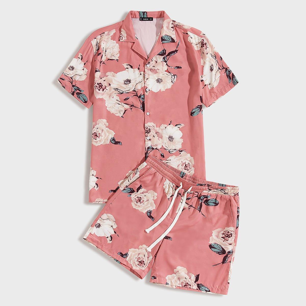 Мужские шорты и рубашка с цветочным принтом, клиновидным вырезом от SHEIN