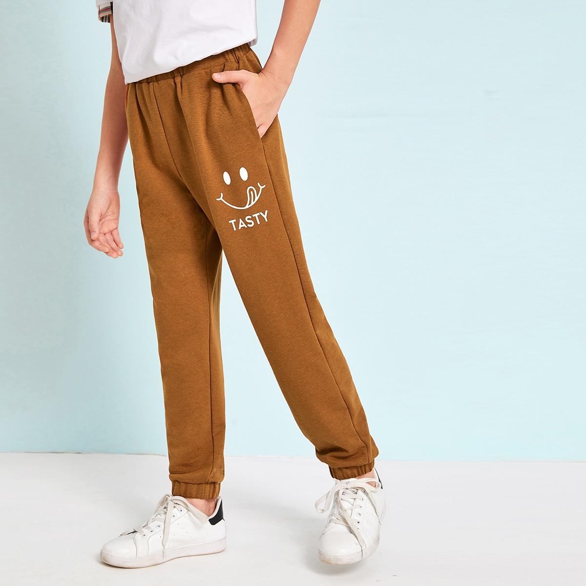 Спортивные брюки с оригинальным принтом для мальчиков от SHEIN