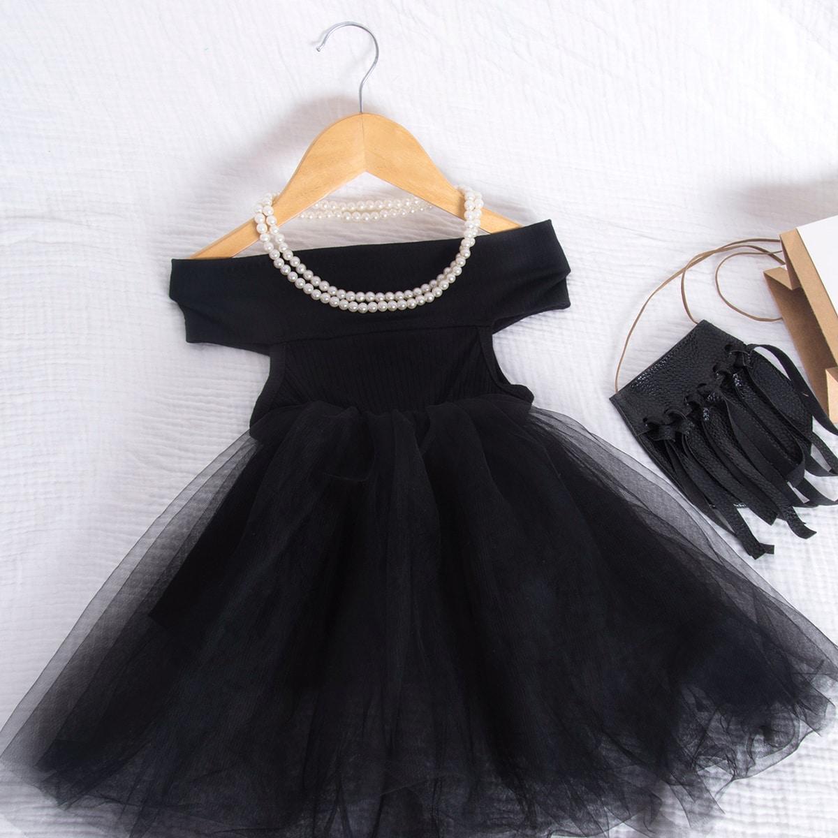 Сетчатое платье с открытыми плечами для девочек от SHEIN