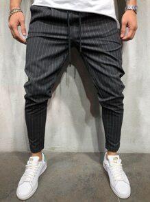 Drawstring   Stripe   Pant   Men