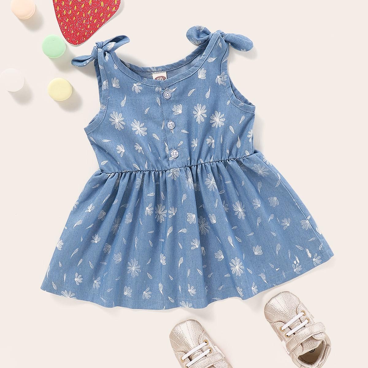 Расклешенное джинсовое платье с цветочным принтом для девочек от SHEIN