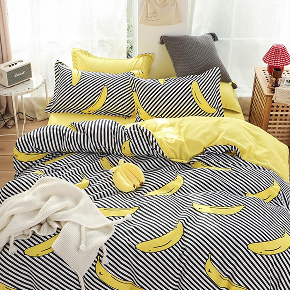Комплект постельного белья с банановым принтом без наполнителя фото