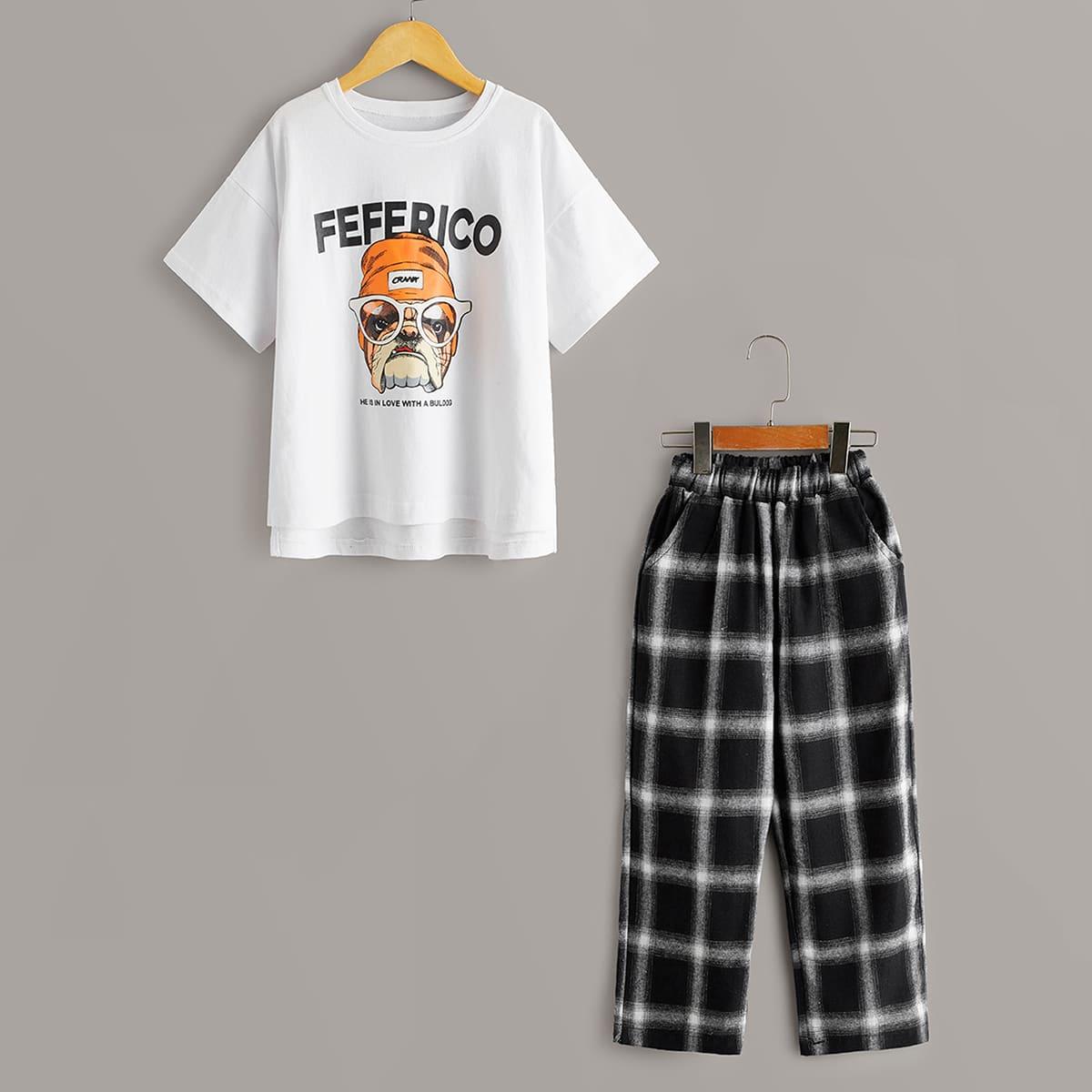 Брюки в клетку и футболка с принтом собаки для девочек фото