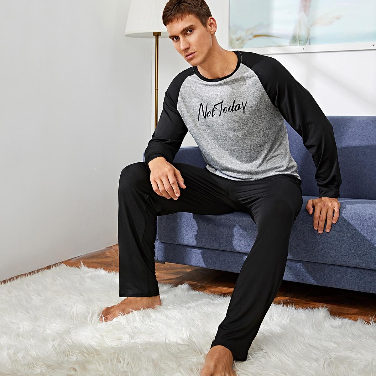 Мужская контрастная пижама с текстовым принтом фото