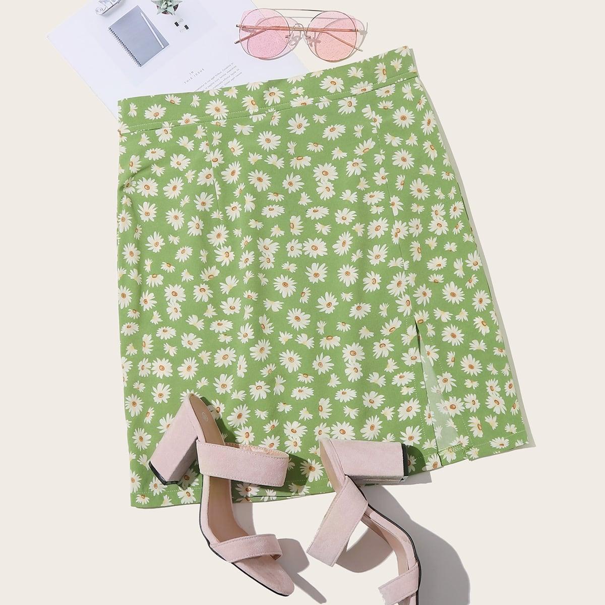 Цветочная юбка с разрезом фото