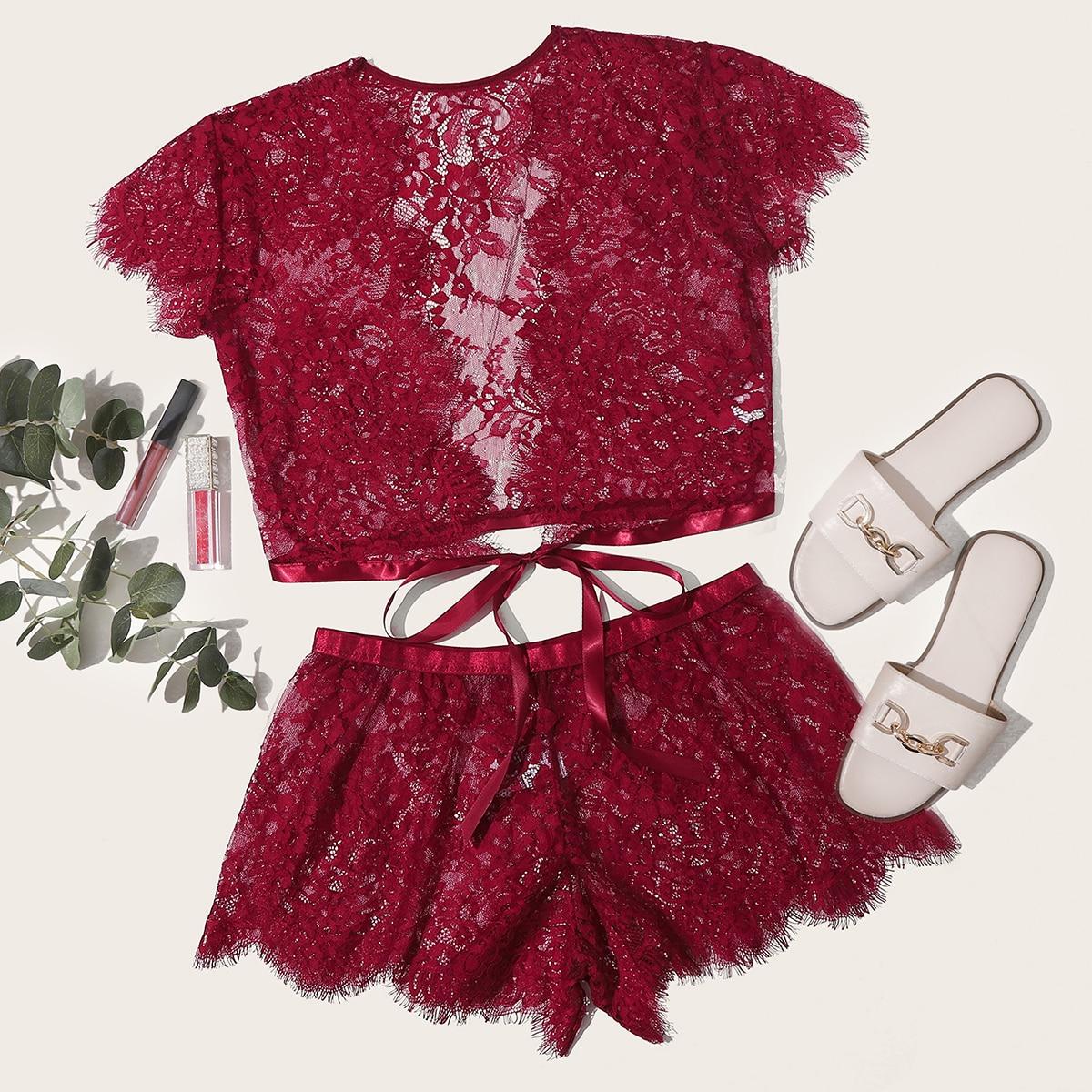 SHEIN / Eyelash Lace Scallop Trim Top With Shorts