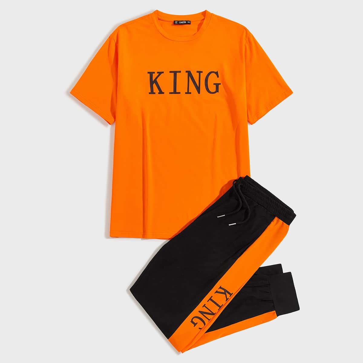 Мужские спортивные брюки и топ с текстовым принтом от SHEIN