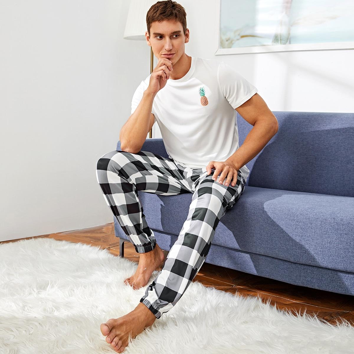 Мужская пижама в клетку с принтом ананаса фото