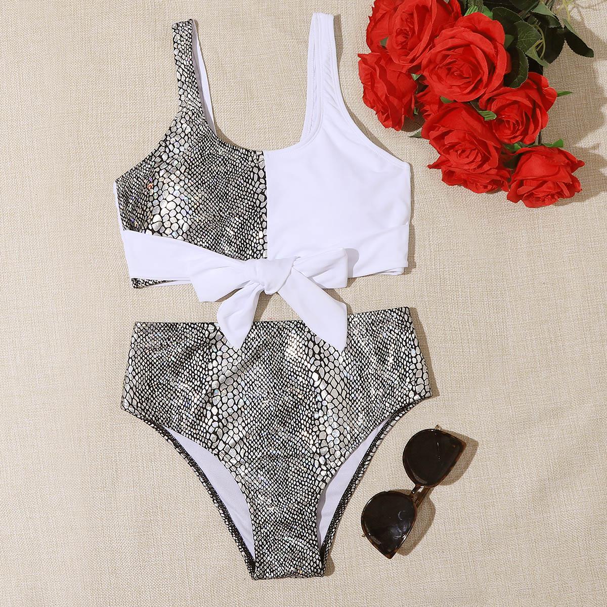 SHEIN / Bikini Badeanzug mit Krokodil Muster und Knoten vorn
