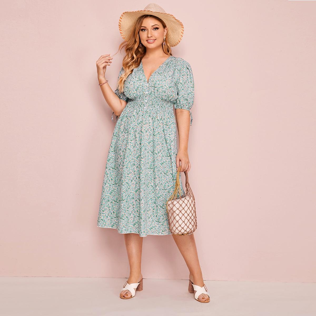 Цветочное платье размера плюс с узлом на манжетах
