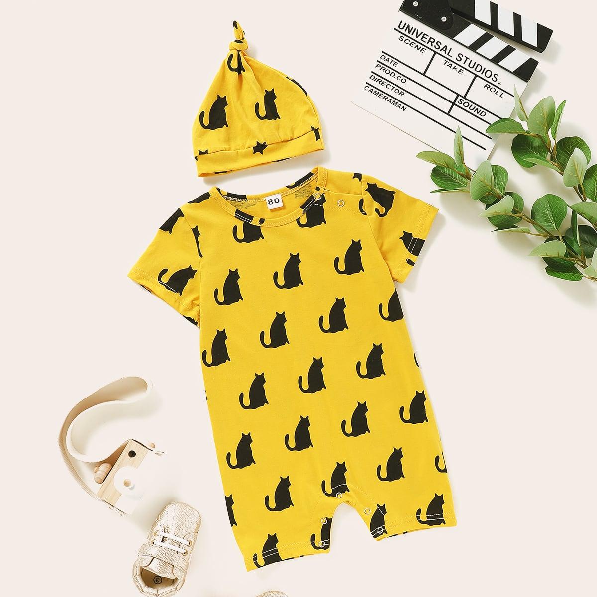 Шапка и комбинезон-футболка с принтом кота для мальчиков от SHEIN