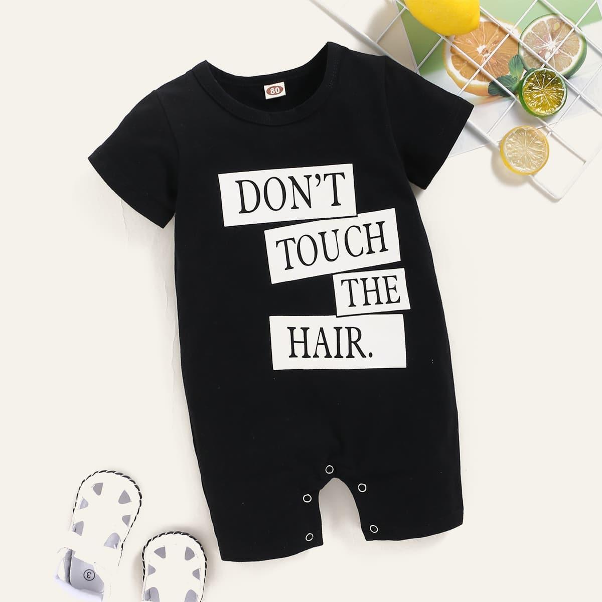 Комбинезон-футболка с текстовым принтом для девочек от SHEIN