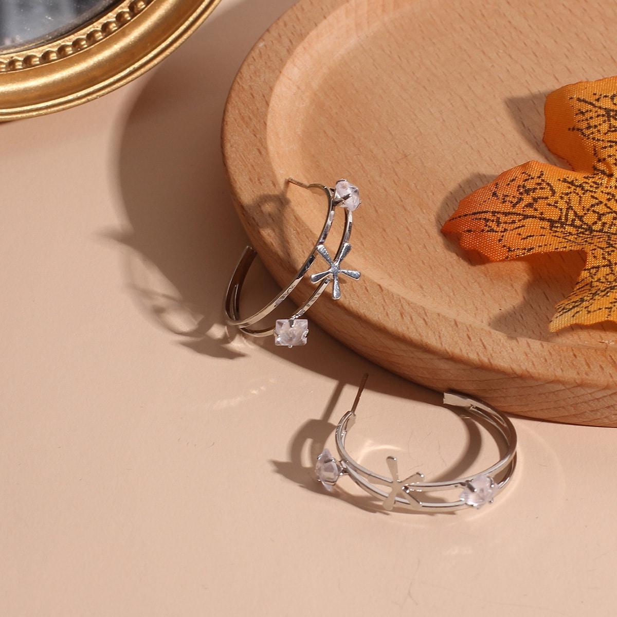 Серьги-кольца с горным хрусталем