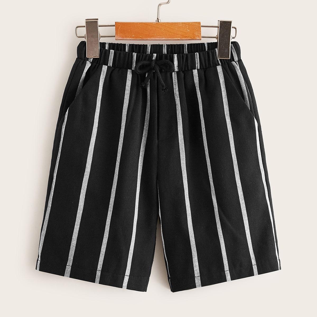 Полосатые шорты с карманом для мальчиков от SHEIN