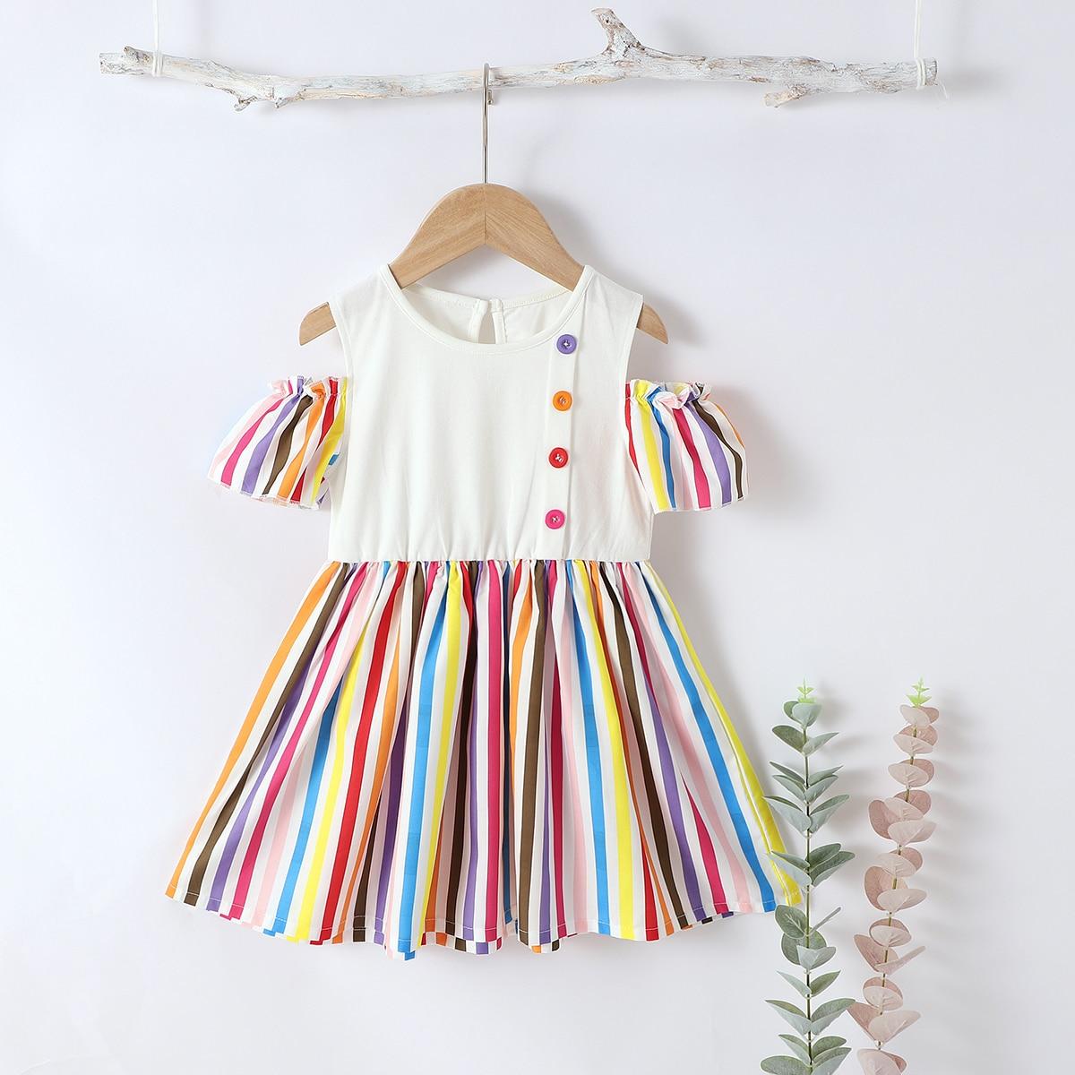 Полосатое платье с разрезом на плечах для девочек фото