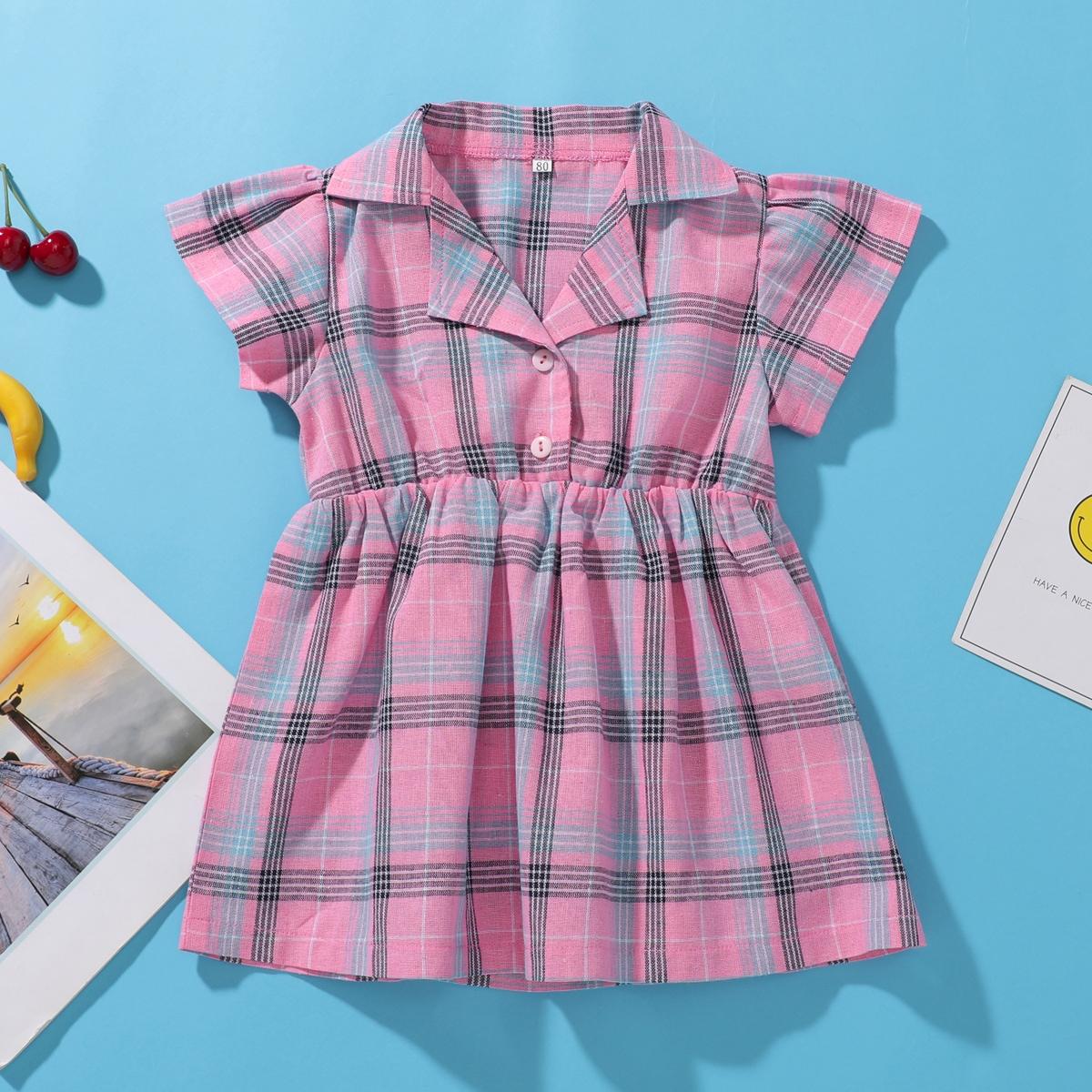 Платье-рубашка в клетку с воротником-лацканом для девочек от SHEIN