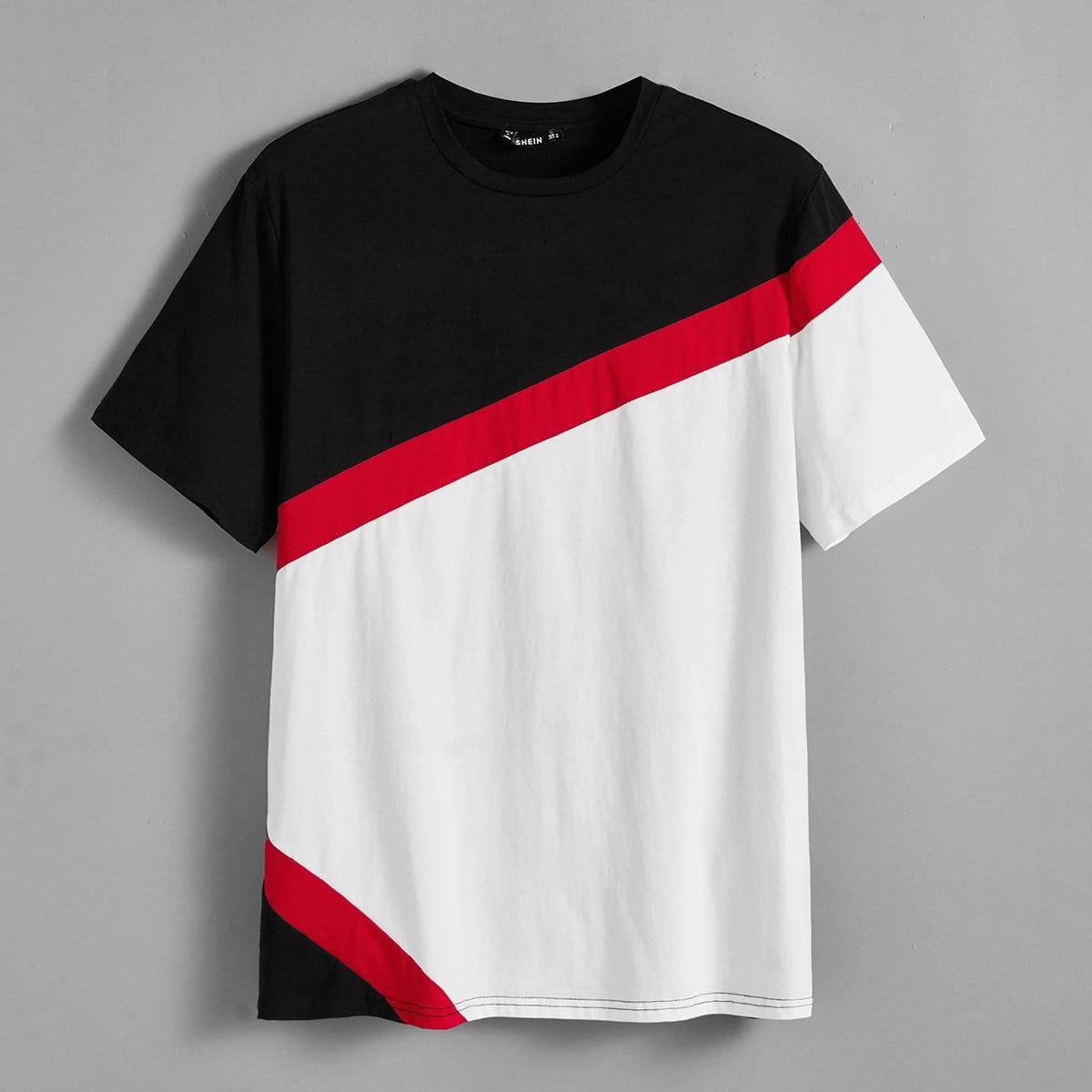 Мужская контрастная футболка с коротким рукавом фото
