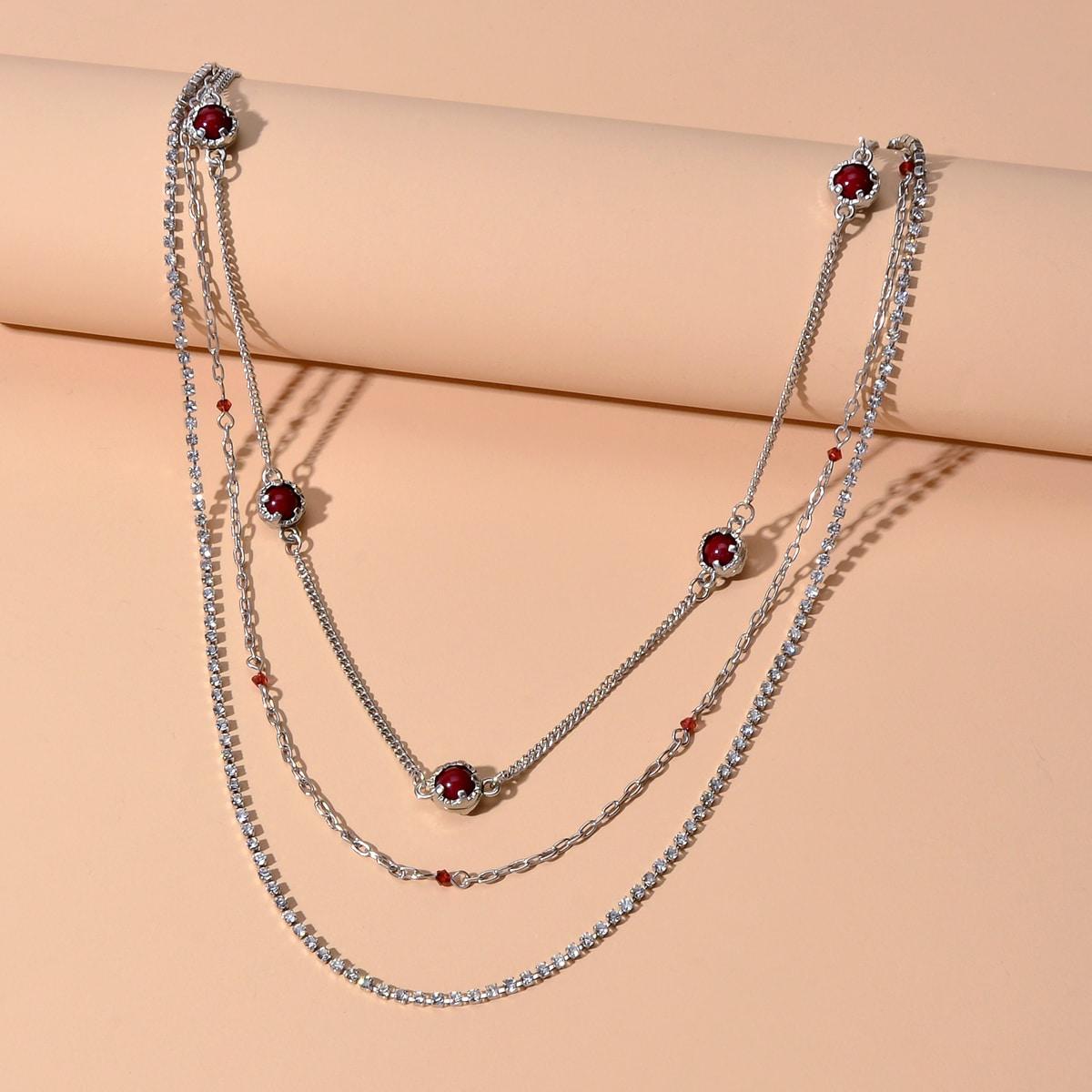 Многослойное ожерелье со стразами фото