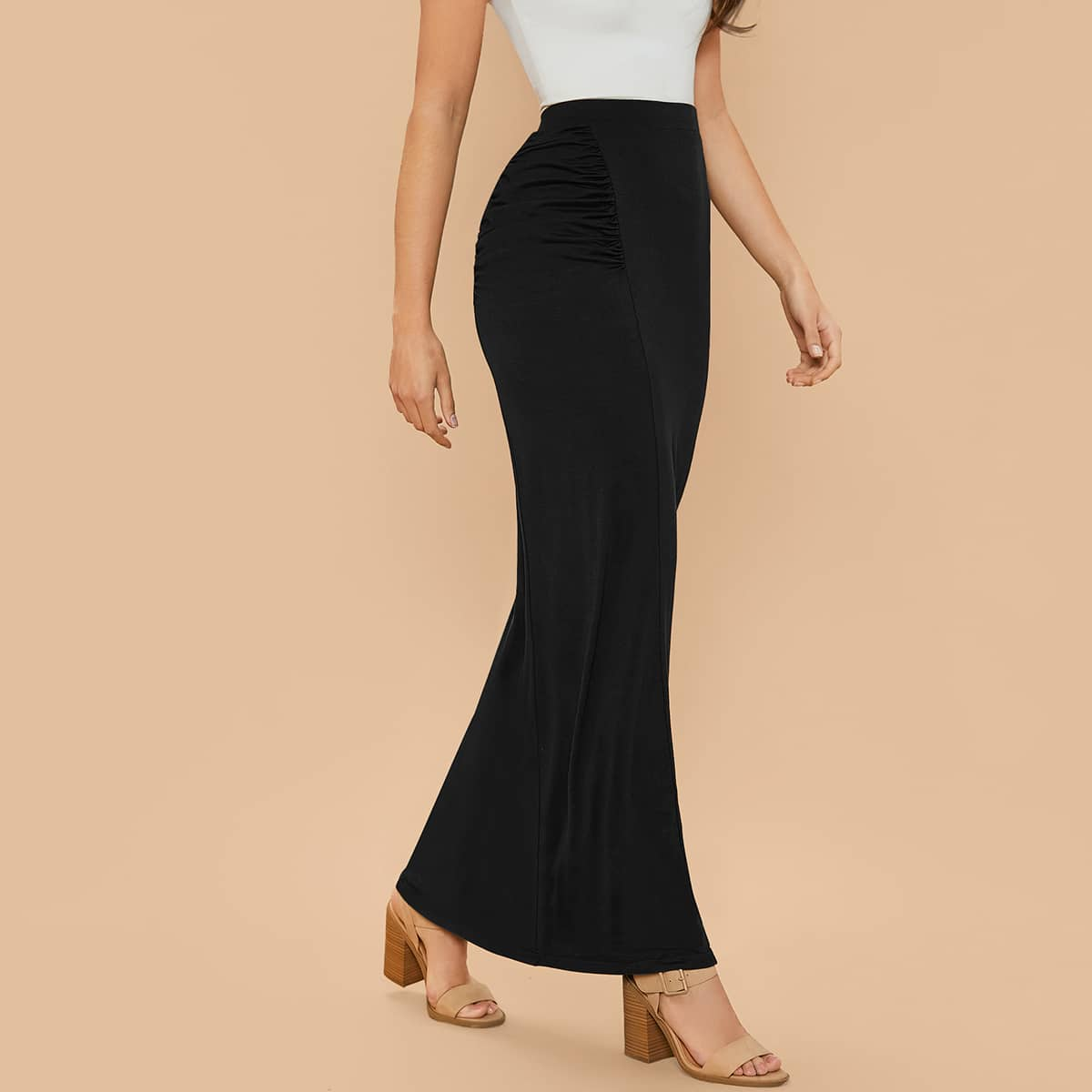 SHEIN / Ruched Detail Maxi Skirt