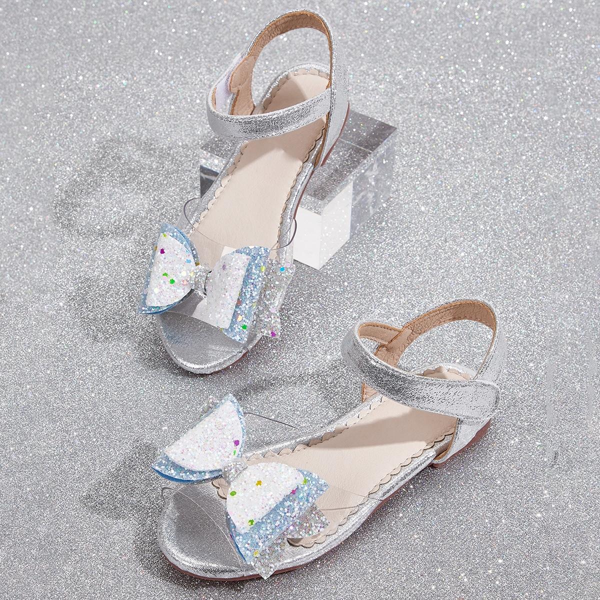 Прозрачные сандалии с бантом для девочек фото