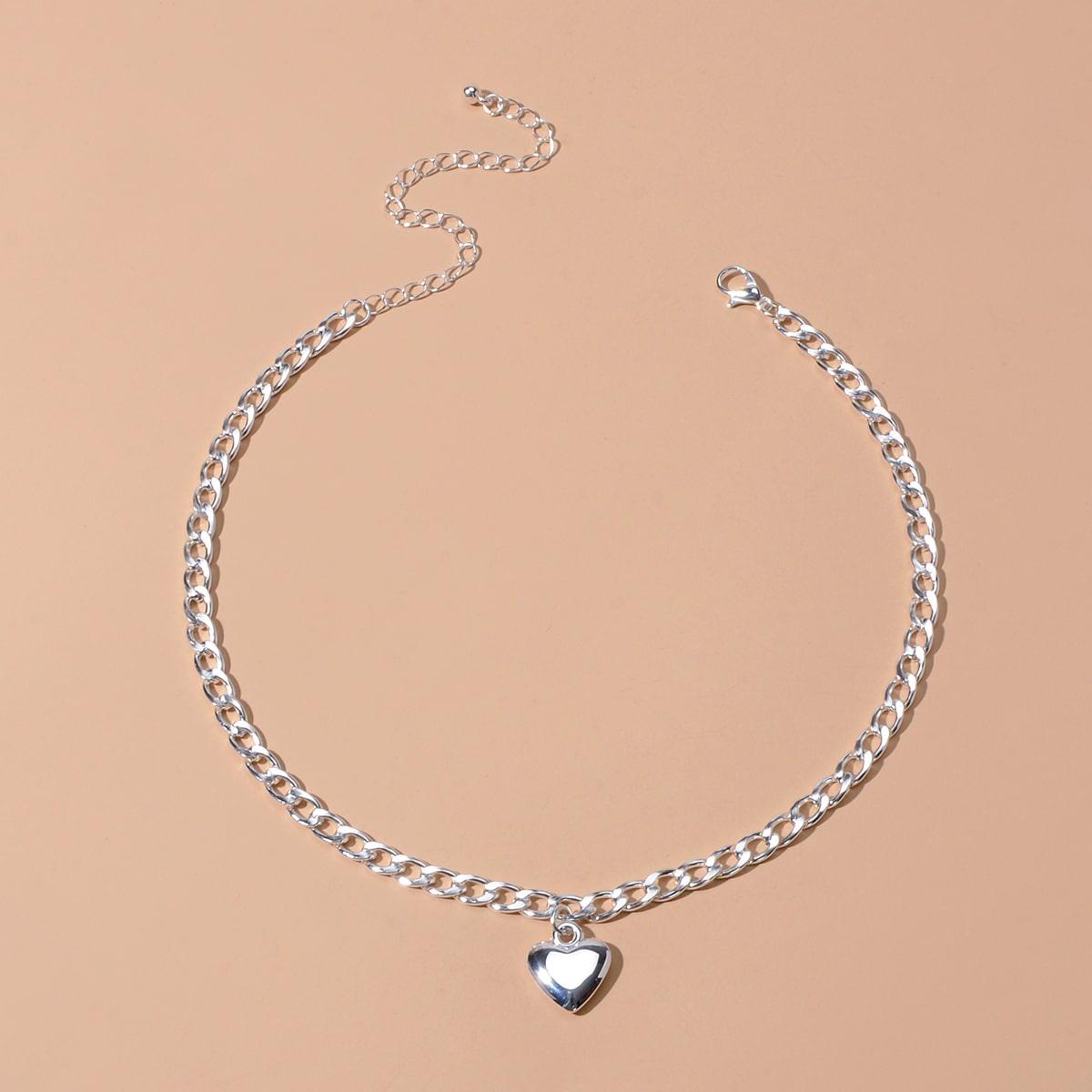 Цепное ожерелье с подвеской сердца 1шт фото