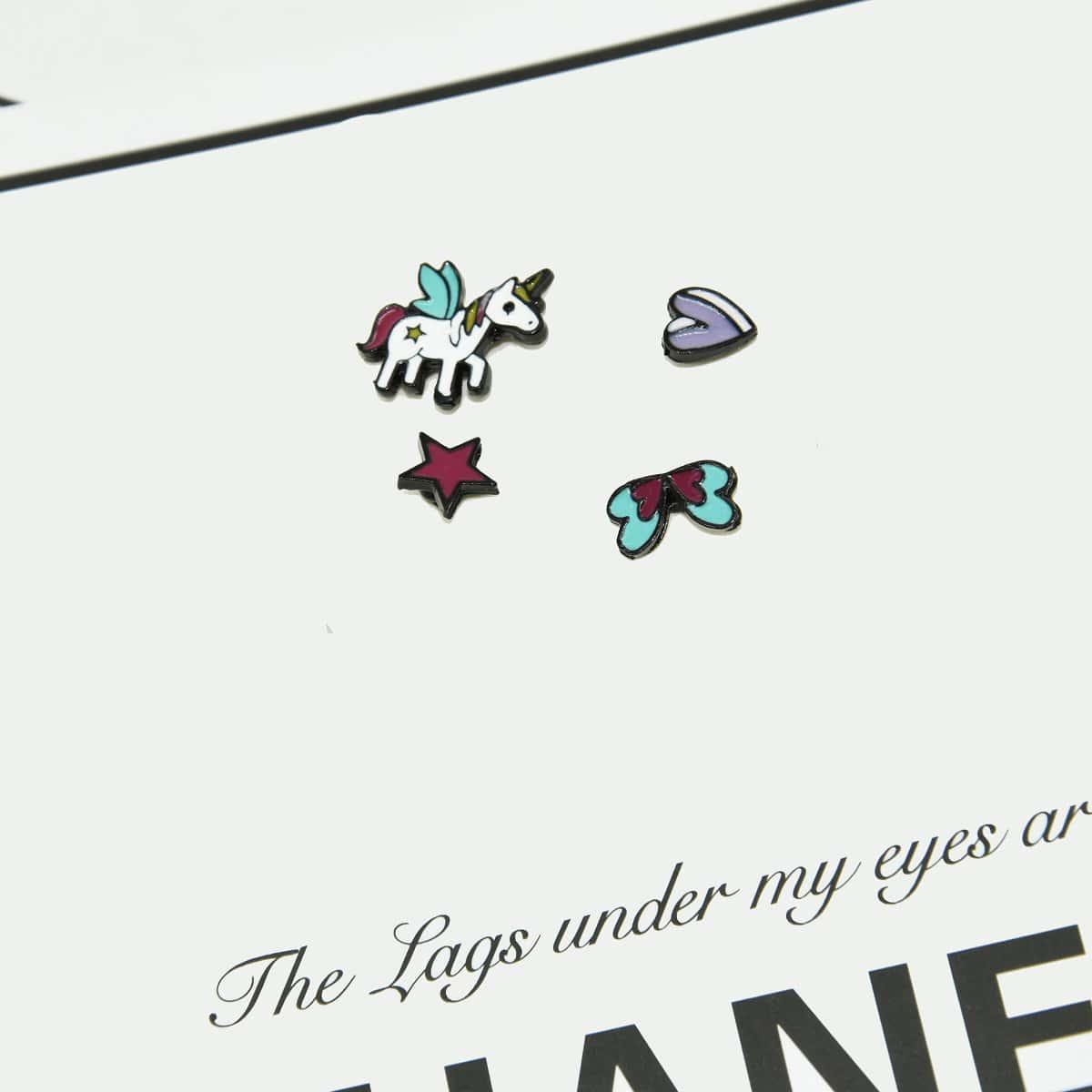 4шт Серьги-гвоздики в форме сердечка фото