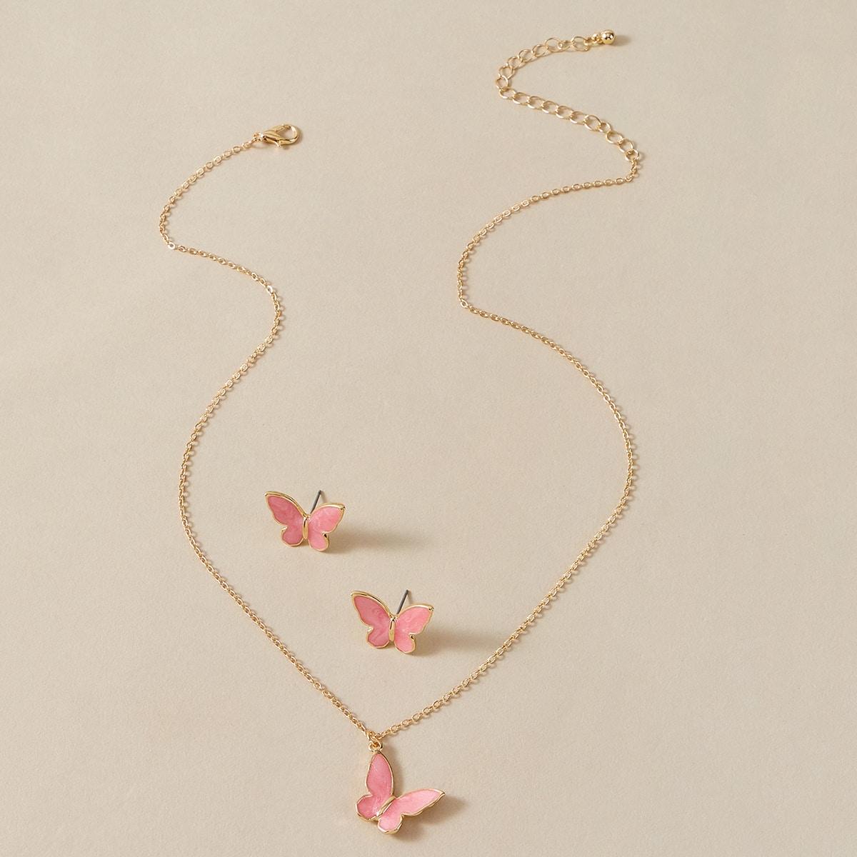 1шт ожерелье и 1 пара серьги-подвески с подвеской бабочки фото