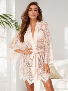 Sheer | Robe | Lace | Tie | Ty