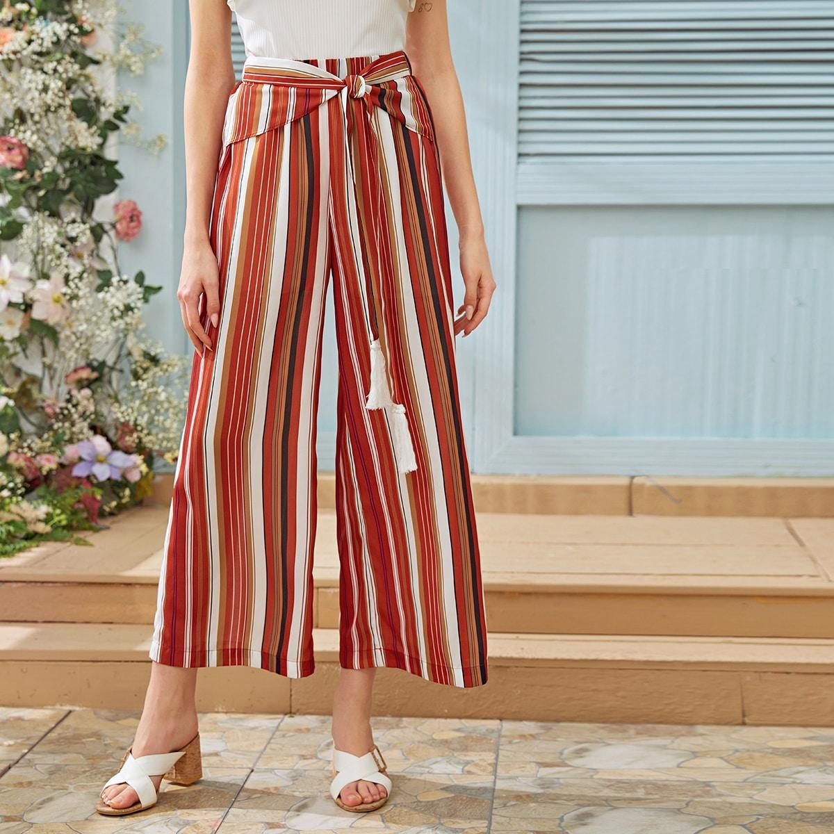 Полосатые брюки с узлом фото