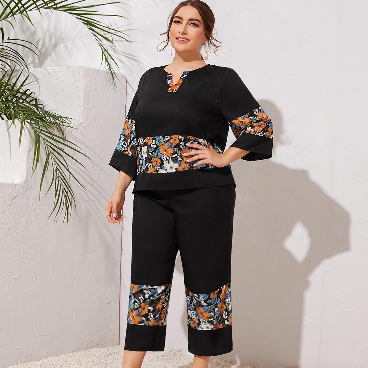 Широкие брюки и топ с цветочным принтом размера плюс фото