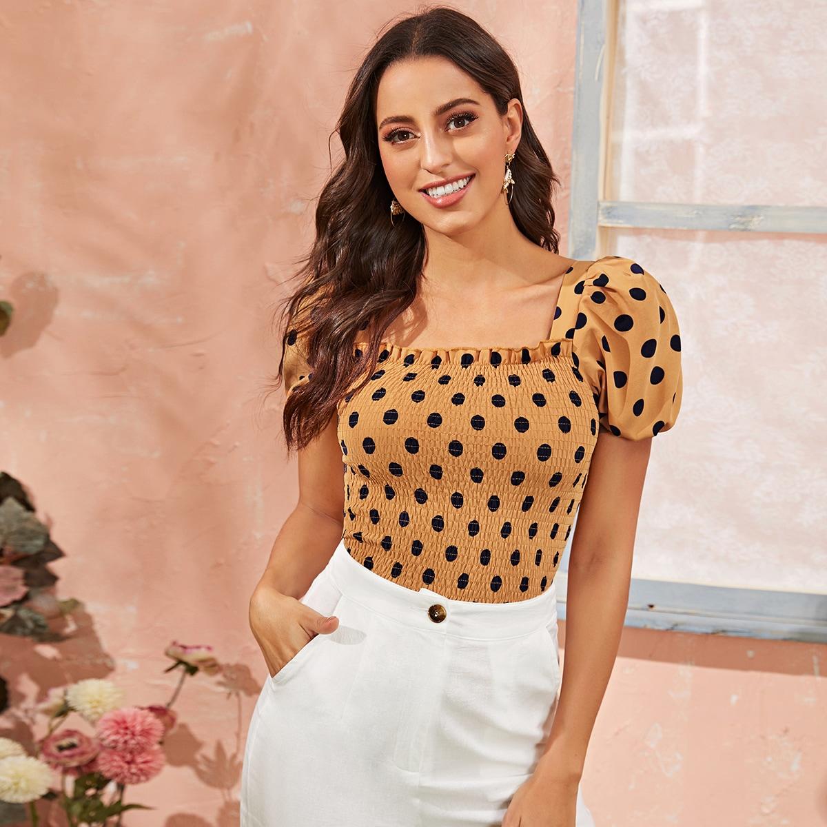 Желтый Оборка В горошёк Бохо Блузы+рубашки фото