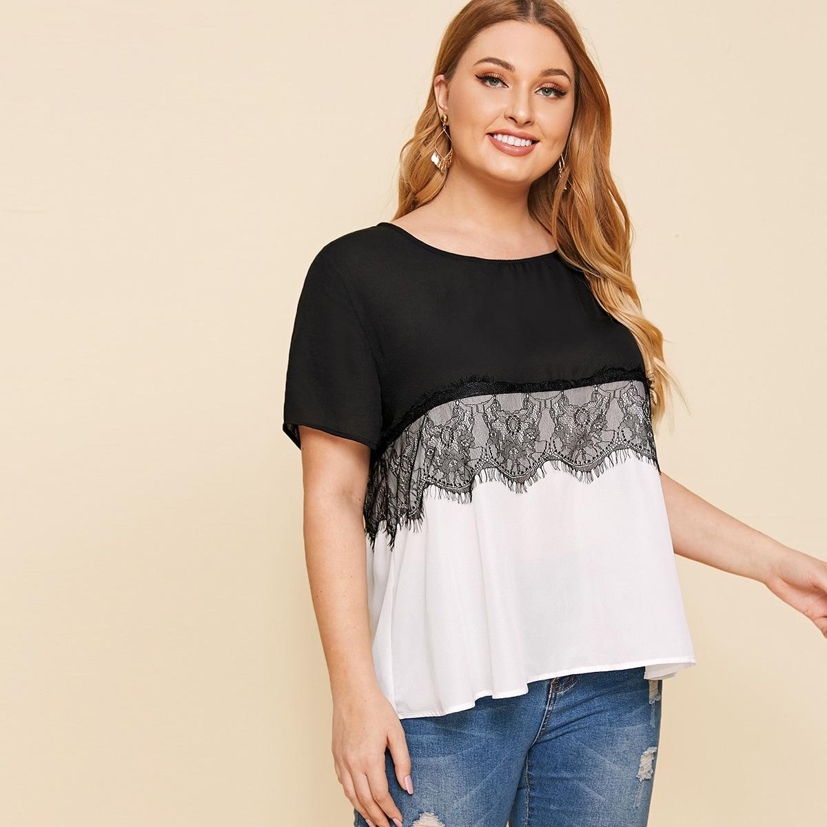 Чёрнобелые Контрастные кружева Контрастный цвет Повседневный Блузы размера плюс фото