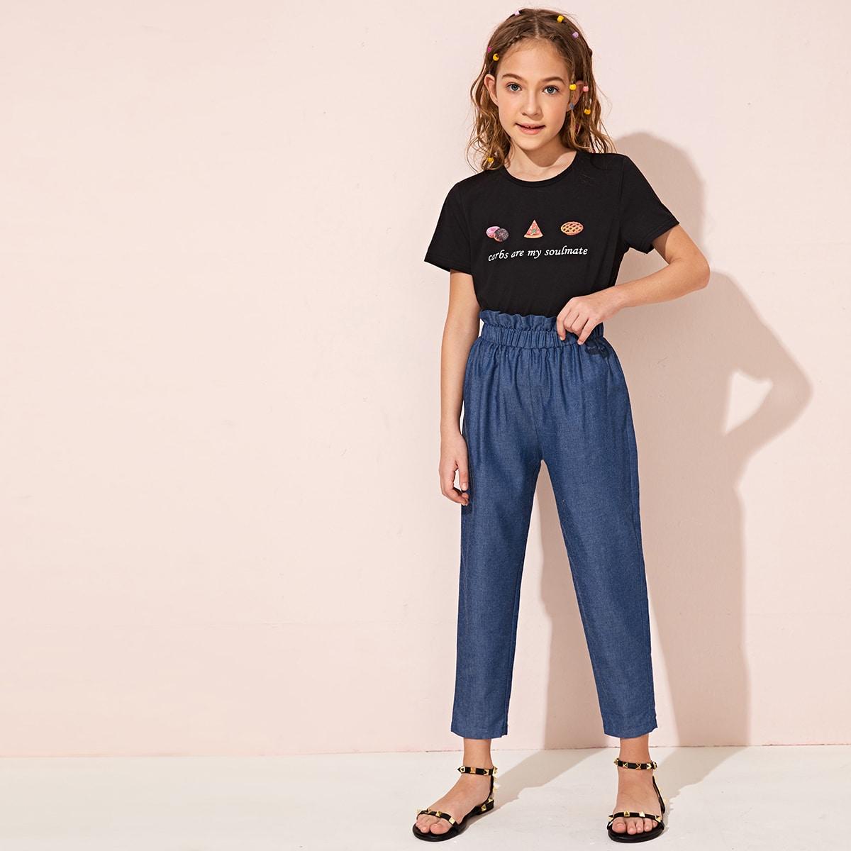 SHEIN / Mädchen T-Shirt mit Lebensmittel, Buchstaben Grafik und Hose mit Papiertasche Taille
