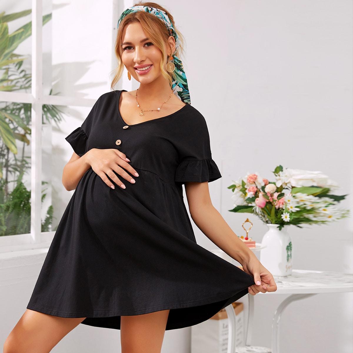 Maternity Платье с оригинальным рукавом и пуговицами от SHEIN