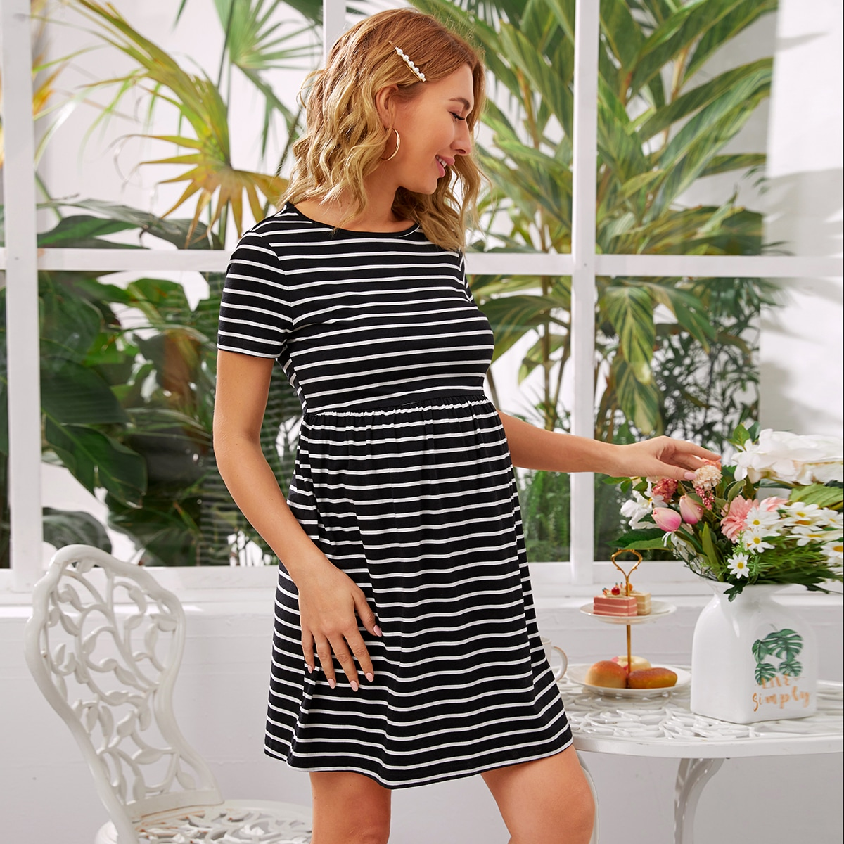Maternity Платье в полоску с эластичной талией от SHEIN