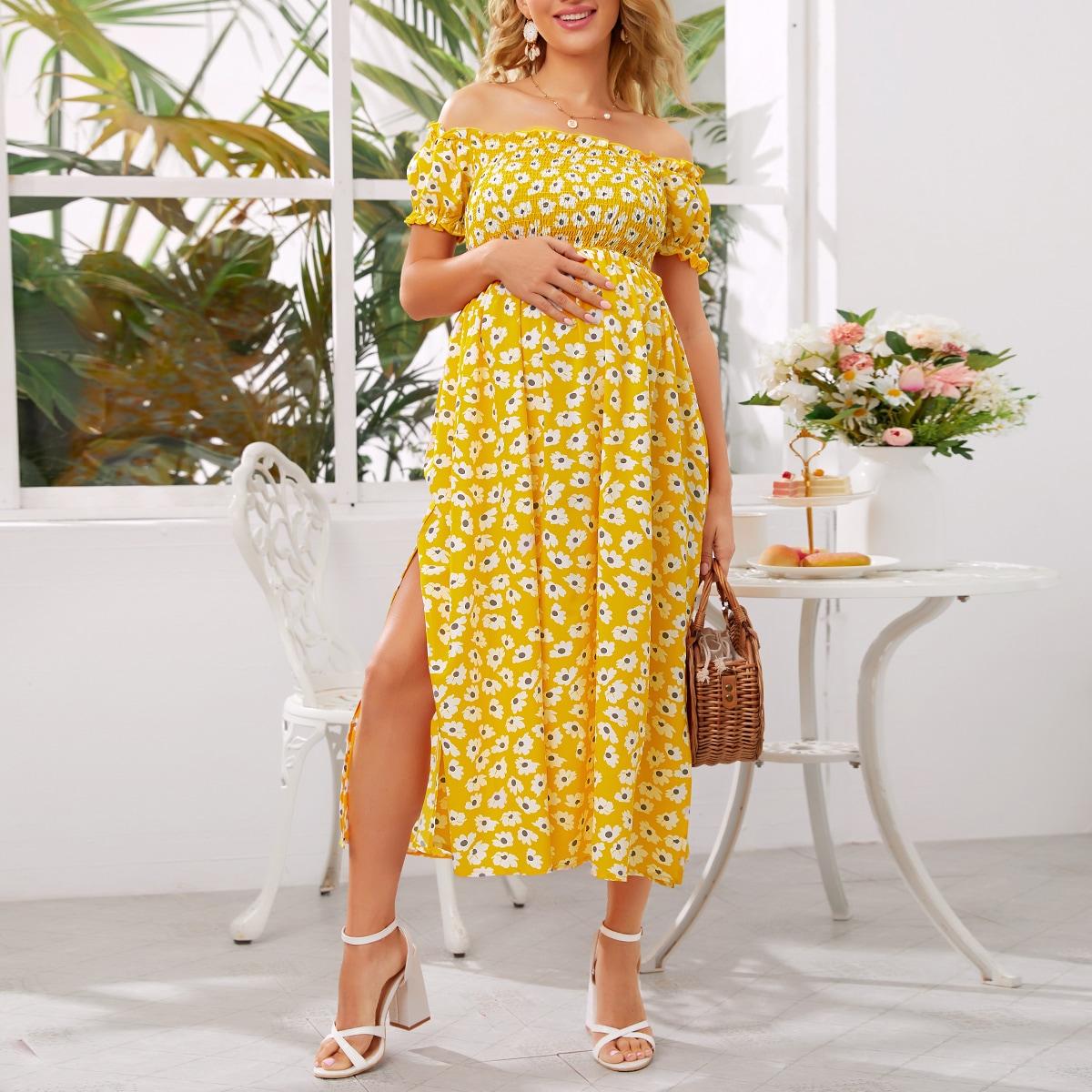 Maternity Платье с открытыми плечами и цветочным принтом от SHEIN