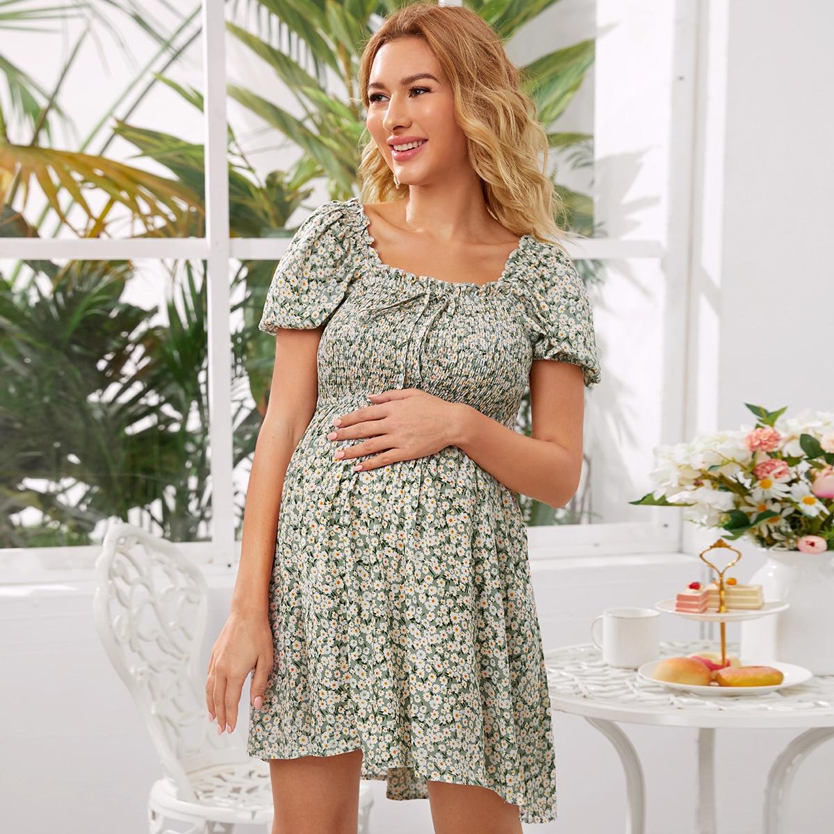 Maternity Цветочное платье с узлом от SHEIN