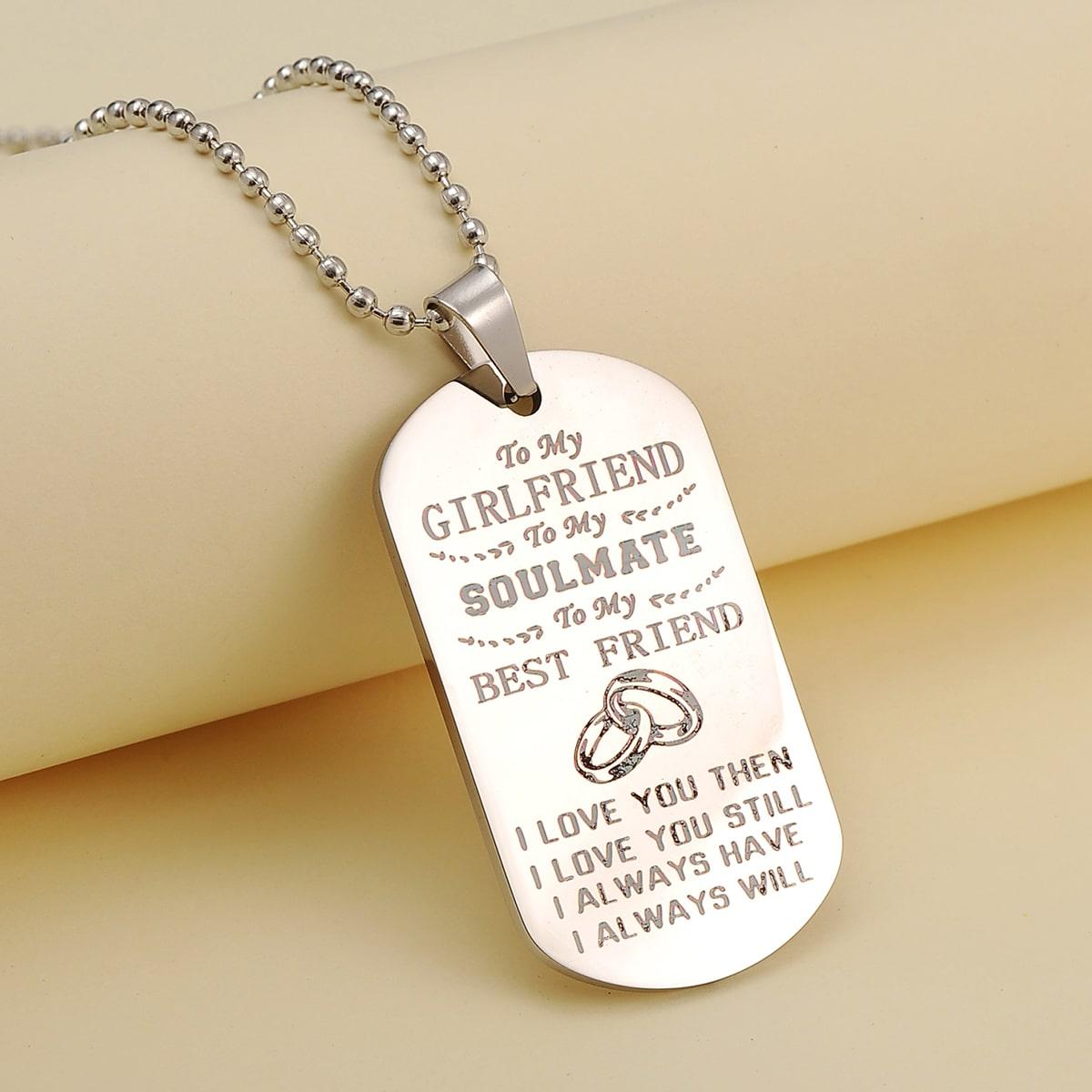 Мужское ожерелье с текстовым принтом от SHEIN