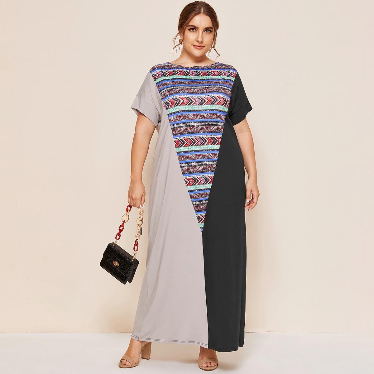 SHEIN / Große Größen - Maxi Tunika Kleid mit Farbblock und Stamm Einsatz