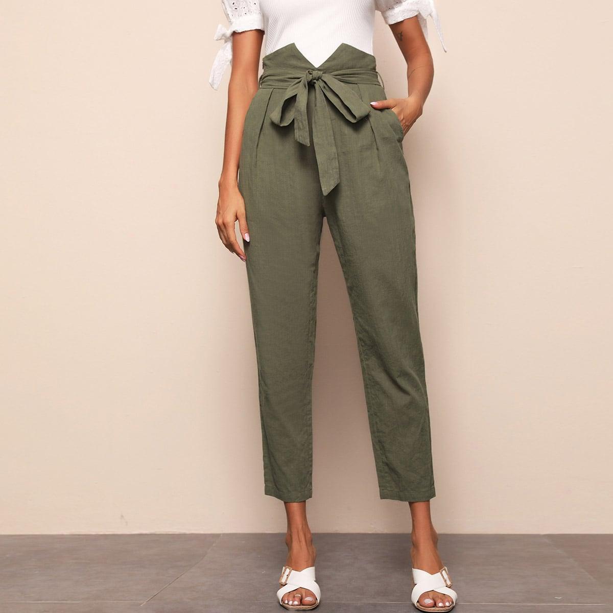 Модные брюки с поясом фото