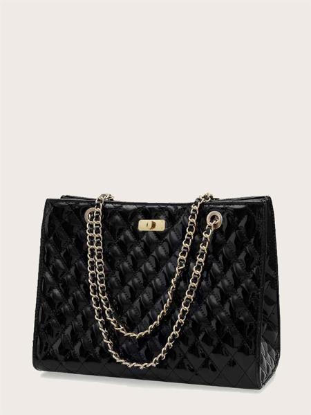 Random Twist Lock Quilted Chain Bag