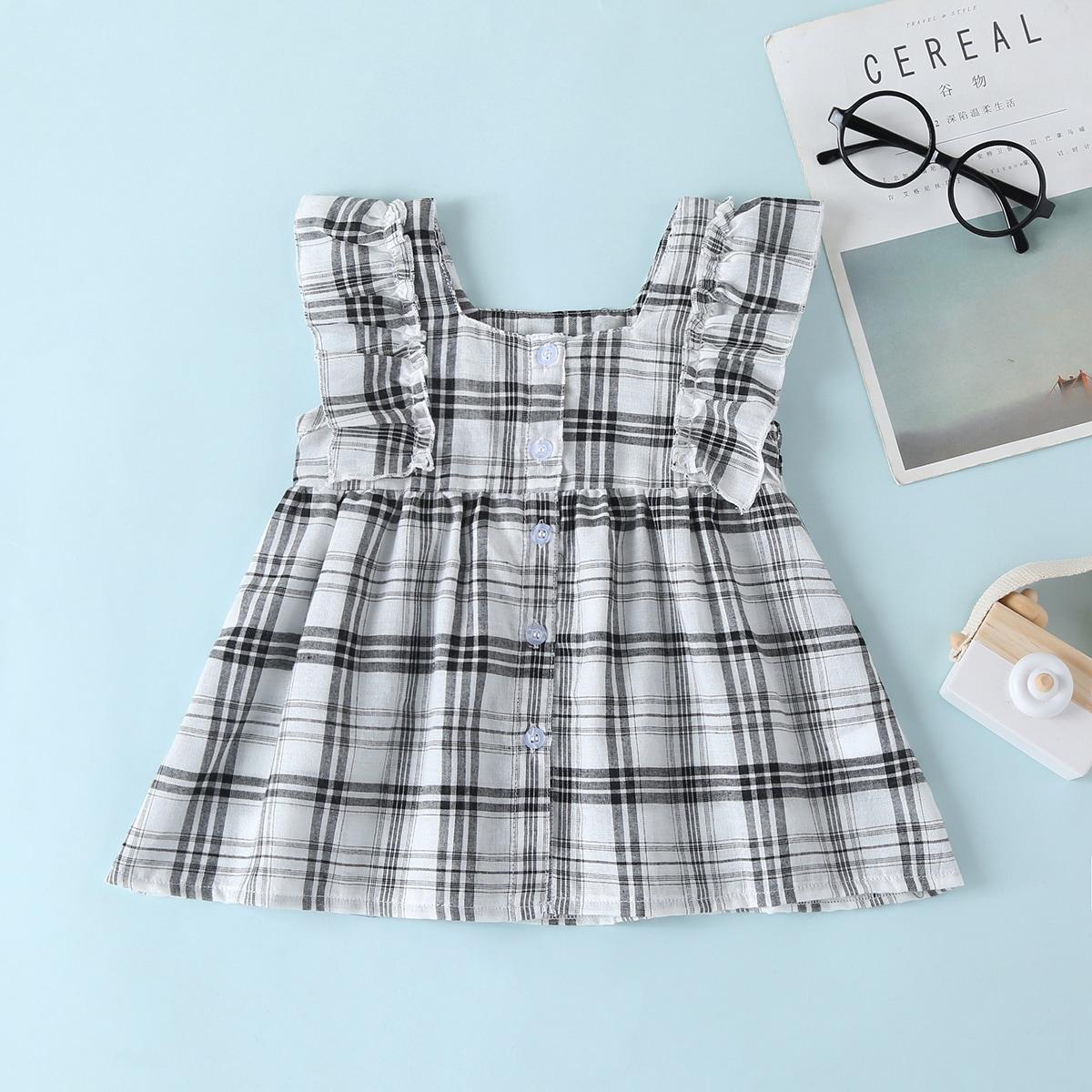 Платье в клетку с оборками для девочек от SHEIN