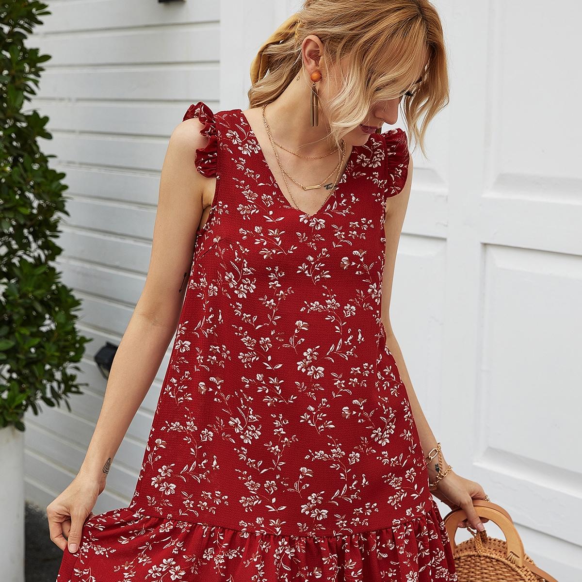 Цветочное платье с оборками и складкой фото