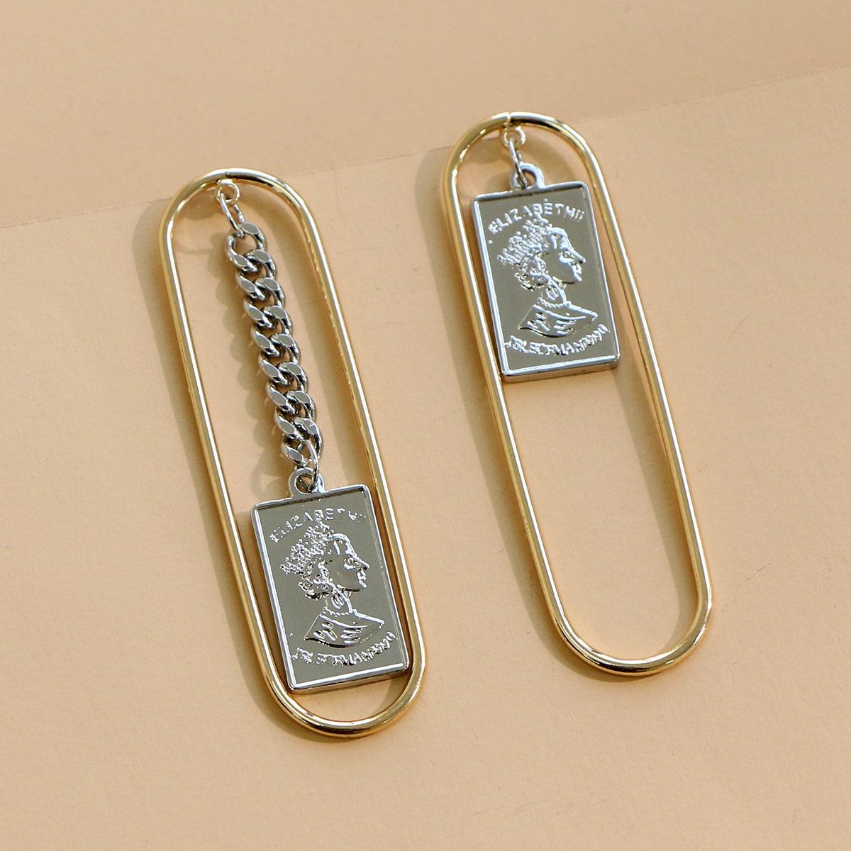 Геометрические серьги-капли с монетами фото