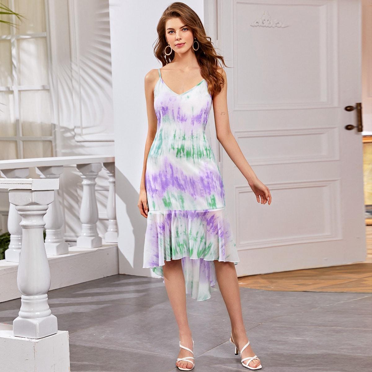 Разноцветное асимметричное платье фото
